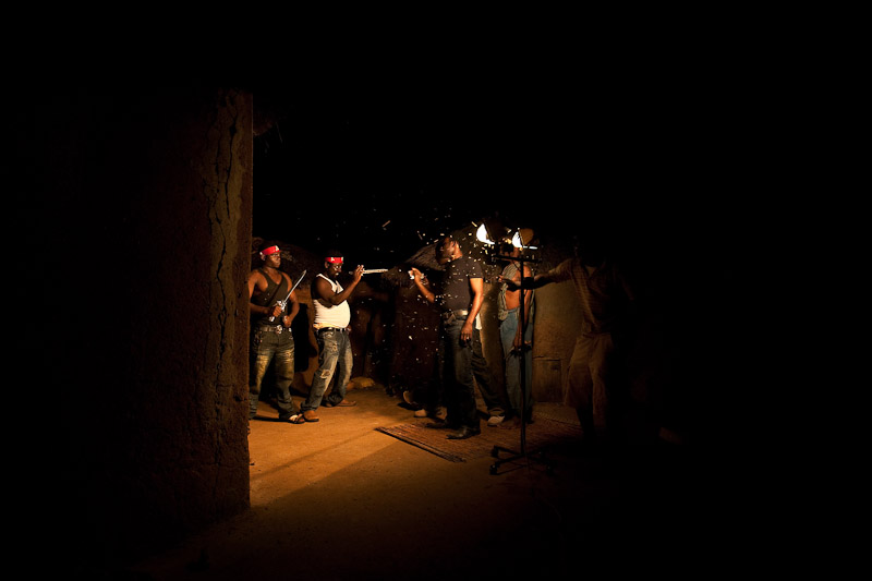 The crew of Marvelous Films International, a local company from the nearby city, films a scene in Voggu. Only in the past few years has a growing local film industry allowed northerners to see movies made by their own tribe, in a setting and language familiar to them.