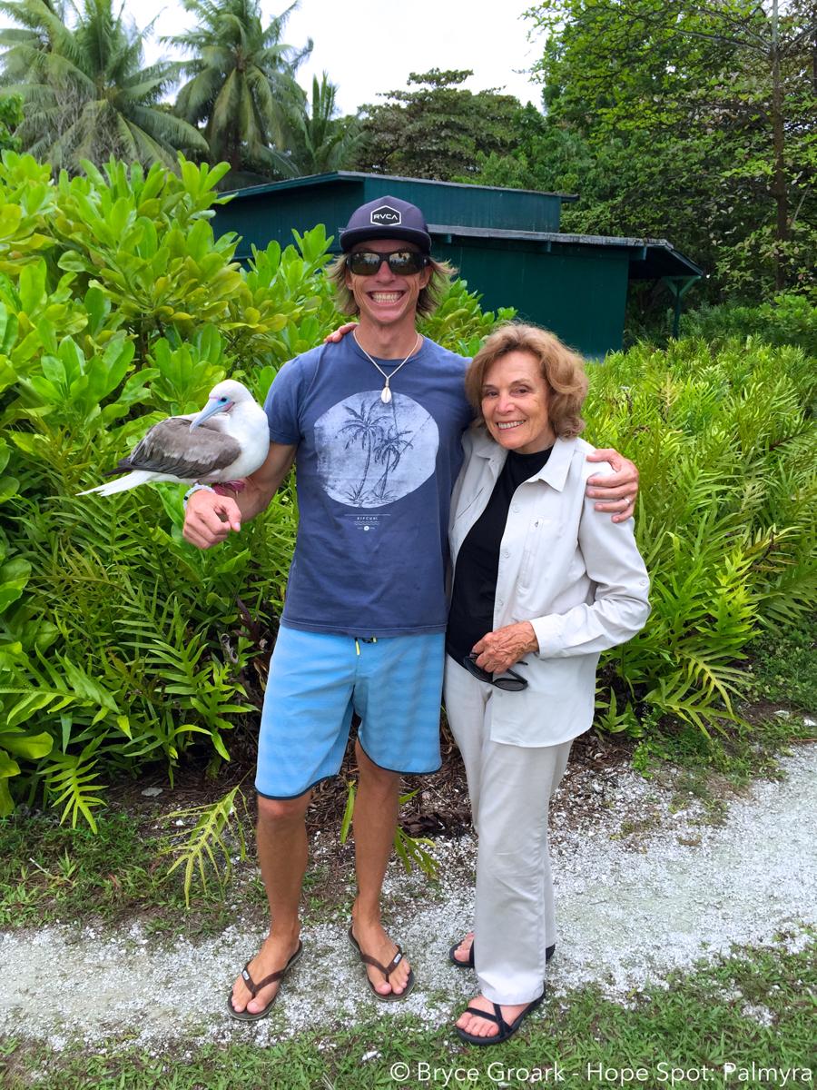 Dr Sylvia Earle and Bryce Groark at Palmyra Atoll