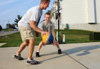 Brendan takes his dad on in a one on one basketball game in their driveway.  {quote}He's a great athlete. It's just that this medical condition, whatever it is, has taken it from him,{quote} his mom Krista said.