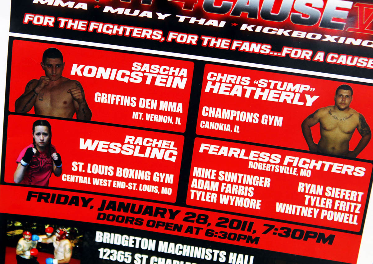 A poster promoting Rachel Wessling's first fight, Fight 4 Cause, hangs in the entrance of The Boxing Gym.