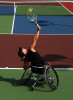Lucy Shuker, of Fleet England, serves the ball to opponent Jordanne Whiley (not pictured), of Halesowen England, during the Women's Open Consolation Final at the US Open USTA Wheelchair Championship at Dwight Davis Tennis Center in Forest Park. Shuker won 6-1, 7-5.