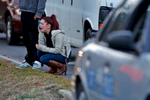 Amanda Westmoreland reacts as she approaches the scene of a shooting Tuesday evening in York County. Westmoreland's friend, Dylan Peters, was killed after being shot several times through the front door of his home.