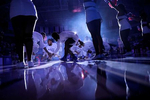 Hampton University basketball players cheer during player introductions before the start Saturday's game against High Point University February 16, 2018.