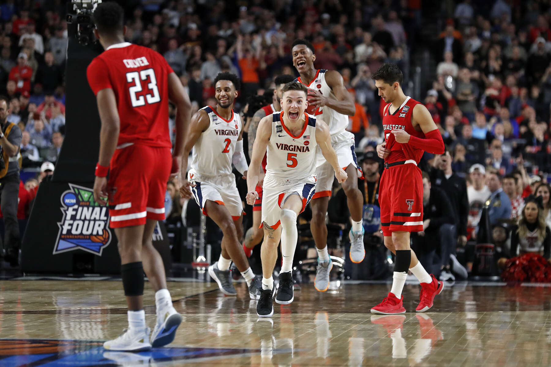 University of Virginia's Kyle Guy celebrates after defeating Texas Tech during Monday's NCAA tournament national championship basketball game at U.S. Bank Stadium in Minneapolis April 8, 2019.