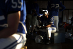 Juan Mikel-Jones sits inside the weight room of New Kent before the start of Friday's football game against Poquoson September 21, 2018. In January, Juan underwent heart transplant surgery after being diagnosed with cardiomyopathy in October.
