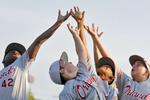 From left Orlando Storm's Jackson Stephens, Tanner Reid, Tank Kelley and Nolan Juvers jump to catch a ball before the start of Tuesday's opening ceremony of the Cal Ripken Southeast Regional baseball tournament July 12, 2016.