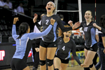 From left, Warhill's Jewel Walters, Nicole Mulligan, Alexis Pollard and Chloe Wilmoth celebrate after defeating Hidden Valley during Saturday's 3A state championship volleyball game at VCU's Siegel Center on November 21, 2015.