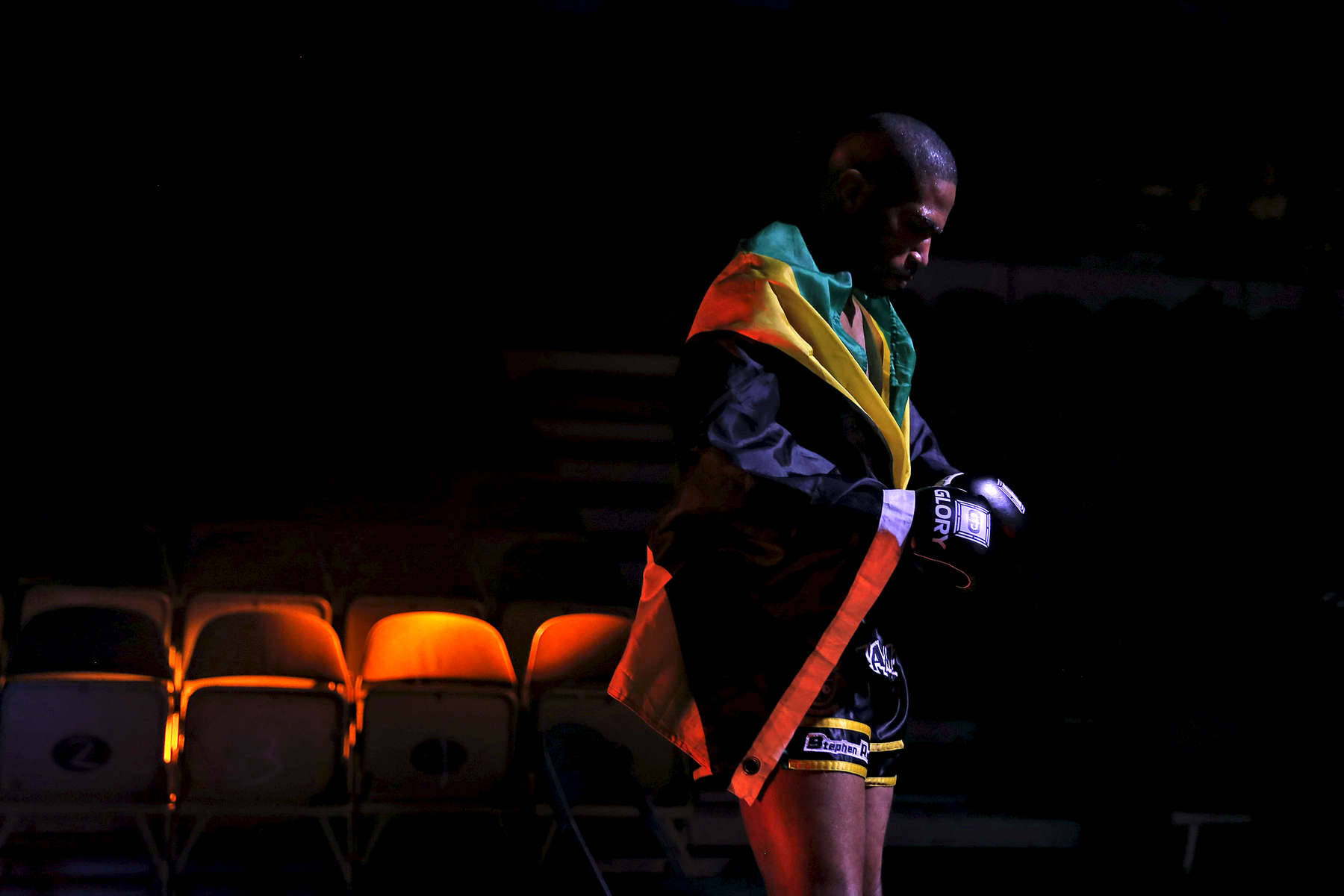 Stephen Richards waits to enter the ring before his match against Francois Ambang during Friday's SuperFight presented by Glory Sports International at the Hampton Coliseum.