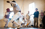Third Place | Photo StoryAndrew Craft, Fayetteville ObserverDale Dingle, left, and Sam Moore compete against each other Saturday during the Airborne Open at All-American Fencing Academy in Fayetteville.