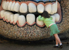 Second Place, FeatureTodd Sumlin, The Charlotte Observer3/17/2011  Sophie Barron, 6, peers through the teeth of {quote}La Cabeza{quote},  a sculpture by Niki de Saint Phalle, at The Green in uptown Charlotte Thursday. Sophie was wearing green for St. Patrick's Day.