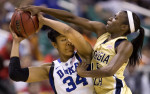 Second Place, Photo StoryJerry Wolford, News-RecordGT's Tyaunna Marshall gets a hand on the ball as Duke's Krystal Thomas tries to pass the ball.