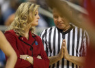 Second Place, Photo StoryJerry Wolford, News-RecordA referee tries to be diplomatic as he approaches NCSU Head coach Kellie Harper as they play No. 2 Miami.