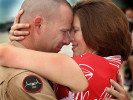 Third Place | General News Chuck Beckley, Jacksonville Daily NewsIt was one sweet homecoming for Gunnery Sgt. Wayne King and his wife, Alanna, when they met on the tarmac at New River Air Station Thursday Afternoon.