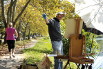 First Place | FeatureErin Brethauer, The Asheville Citizen-TimesStuart Roper works on a plein air painting of the boats and lily pads at Beaver Lake Wednesday morning.  {quote}Beaver Lake's a lovely spot,{quote} says the fine art painter and sculptor, {quote}This is my office.  How lucky am I?{quote}9/28/11