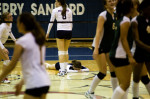 Second Place | Sports James Robinson, Fayetteville ObserverTerry Sanford's Manymegan Farley lays on the ground for a moment after missing a ball  during there game for the Mid-South 4-A Conference volleyball  tournament finals Thursday night against Pine Forest.