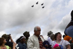 Second Place | Photo StoryJohn D. Simmons, The Charlotte Observer The Missing Man Formation surprises the crowd as it flies overhead during ceremonies at the Vietnam Veterans Homecoming Celebration Saturday.