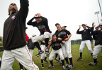 POY: Runner UpAndrew Craft, Fayetteville ObserverHarvard-Westlake baseball players shout and jump after assistant coach Jared Halpert, left, makes an amazing catch during a game of two ball during a rain delay Saturday, March 31, 2012, at the USA Baseball H.S. Invitational in Cary, N.C.