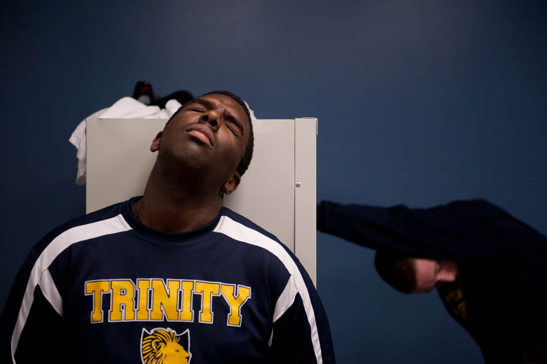 Student Photographer of the YearCarolyn Van Houten, UNCMaurice Troy, a junior at the Trinity School of Durham and Chapel Hill, reacts to Coach Mike Huff's speech in the locker room after a devastating loss to Burlington Christian Academy.