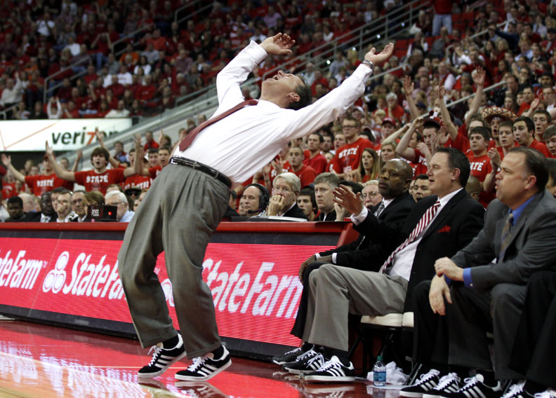 Sports Photographer of the YearEthan Hyman, News & ObserverN.C. State's Mark Gottfried can't believe a foul was called on the Wolfpack during the second half N.C. State's 61-60 loss to Virginia Saturday, January 28, 2012, at the RBC Center in Raleigh, N.C.