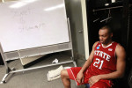 Sports Photographer of the YearEthan Hyman, News & ObserverN.C. State's C.J. Williams (21) sits in the locker room, taking it all in, after N.C. State's 66-63 victory over Georgetown in the third round of the NCAA Tournament at Nationwide Arena in Columbus, Ohio, Sunday, March 18, 2012.