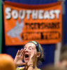 Sports POY: Runner UpJerry Wolford, News-RecordSwimmer and coach Anna Ransom cheers with the Southeast Tigersharks team before they walk to the pool.