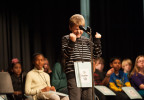 Second Place  | FeatureJames Nix, Independent TribuneDonovan Nickol, from Harrisburg Elementary School, reacts after winning the Cabarrus County Spelling Bee at Concord Middle School Thursday night.