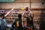 First Place | Multiple PhotosMelissa Melvin-Rodriguez, The Fayetteville ObserverThe Fayetteville Flyers' Tee Foster, right, lines up a shot during the game against the Winston-Salem Trackers at Massey Hill Classical High School on Saturday, February 2, 2013.