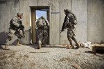 Third Place | Multiple PhotosJames Robinson, The Fayetteville ObserverSoldiers in  2nd Platoon, B Company, 1st Battalion, 505th Parachute Infantry Regiment, 3rd Brigade Combat Team, enter a building during a live fire training exercise on Fort Bragg.