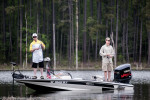 Third Place | Multiple PhotosMelissa Melvin-Rodriguez, The Fayetteville ObserverJoey Gwyn, left, and Timothy Nielsen bank fish for bass in a man-made cut of the Jordan Lake during Warriors on the Water Military Appreciation Bass Fishing Tournament.