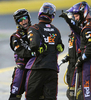 Sports POY: Runner UpJeff Siner, The Charlotte ObserverA crewman for NASCAR Sprint Cup Series driver Denny Hamlin celebrates the team's pit stop during Sprint All-Star Race qualifying.