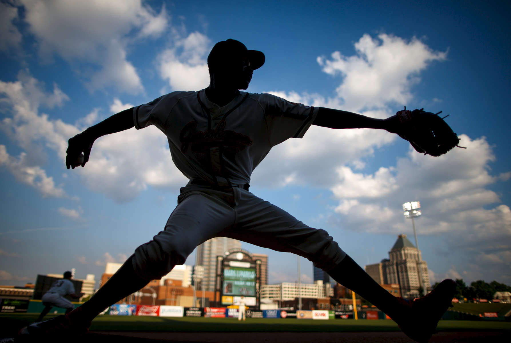 Sports Photographer of the Year Jerry Wolford, News & Record (Greensboro)Hoppers\' pitcher Domingo German warms up in the bullpen before starting the game on Wednesday, May 14, 2014, in at NewBridge Bank Park.