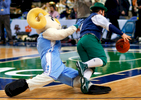 Sports Photographer of the Year Jerry Wolford, News & Record (Greensboro)UNC\'s Rameses mascot trips Notre Dame\'s leprechaun mascot, Johnny Romano, as the mascots from all the ACC schools play a short game against each other.