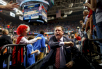 Sports Photographer of the Year Jerry Wolford, News & Record (Greensboro)NC State head coach Mark Gottfried celebrates as he leaves the court after defeating Syracuse 66-63.