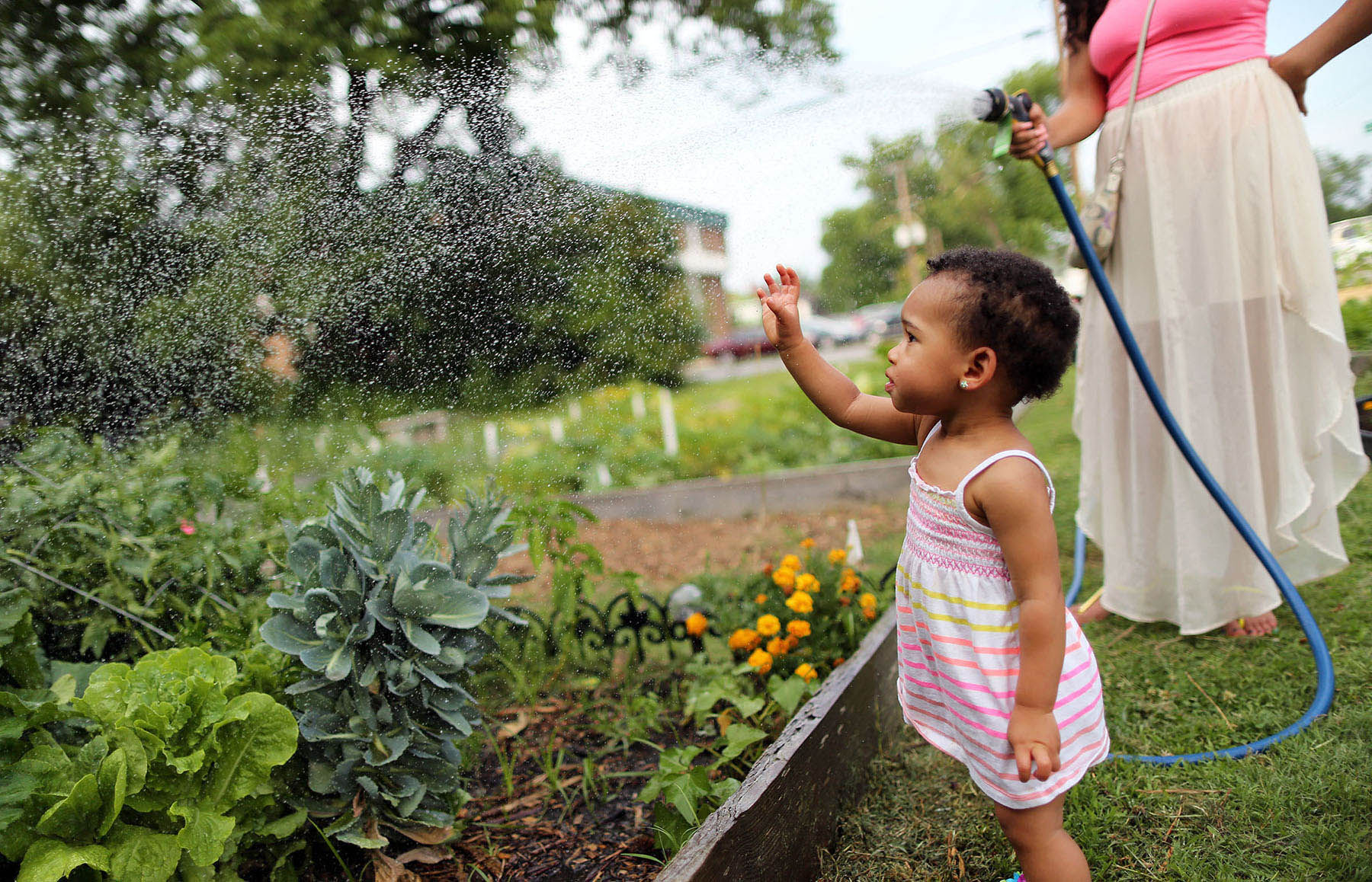 Second Place | Multiple PhotosAdam Jennings, Rocky Mount TelegramZola Hunt, 1, left, plays in the water as her mother, Jihan Cole, right, waters vegetables in the Down East Community Garden on Thursday, June 19, 2014.