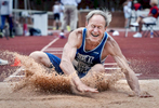 First Place | SportsLauren Carroll, Winston-Salem JournalJudges comments:  Key moment and wonderful facial expression. Rick Lapp of Long Island, New York, competes in the long jump for the M60 age group at the USATF Masters Friday, July 18, 2014.