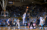 Second Place | Multiple PhotosJerry Wolford, News & RecordTip-off of the game with Pittsburgh. ACC Basketball action with Pittsburgh at Duke in Cameron Indoor Stadium on Monday, January 19, 2015, in Durham, N.C.