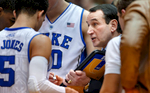 Second Place | Multiple PhotosJerry Wolford, News & RecordDuke head coach Mike Krzyzewski draws out a play during a timeout. ACC Basketball action with Pittsburgh at Duke  in Cameron Indoor Stadium on Monday, January 19, 2015, in Durham, N.C.