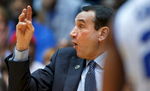 Duke head coach Mike Krzyzewski is animated as he coaches from his bench. ACC Basketball action with Pittsburgh at Duke  in Cameron Indoor Stadium on Monday, January 19, 2015, in Durham, N.C.