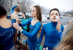 Honorable Mention I Multiple PhotosMark Dolejs, Daily DispatchDuke senior Katie Brock (center) paints the arm of Mikayla Wickman (left) as Olivia Bergesen (far right) paints the face of Evan Williams before the Duke Blue Devils take on the North Carolina Tar Heels in their game at Cameron Indoor Stadium.