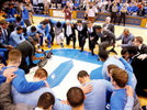 Honorable Mention I Multiple PhotosMark Dolejs, Daily DispatchNorth Carolina head coach Roy Williams and Duke head coach Mike Krzyzewski pause for a moment of silence with their teams in memory of former North Carolina coach Dean Smith before their game at Cameron Indoor Stadium.
