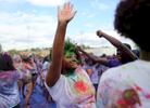 Honorable Mention I FeatureAl Drago, Elon UniversityA UNC student dances to music during the Holi Moli Indian color festival on April 11, 2015 at Hooker Fields in Chapel Hill, N.C.