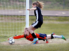 Third Place | SportsMark Dolejs, Daily DispatchSouthern Vance goalkeeper Kendall Harris stretches for the save as Granville Central's Carly Garrard comes up short in her attempt to score during their game.