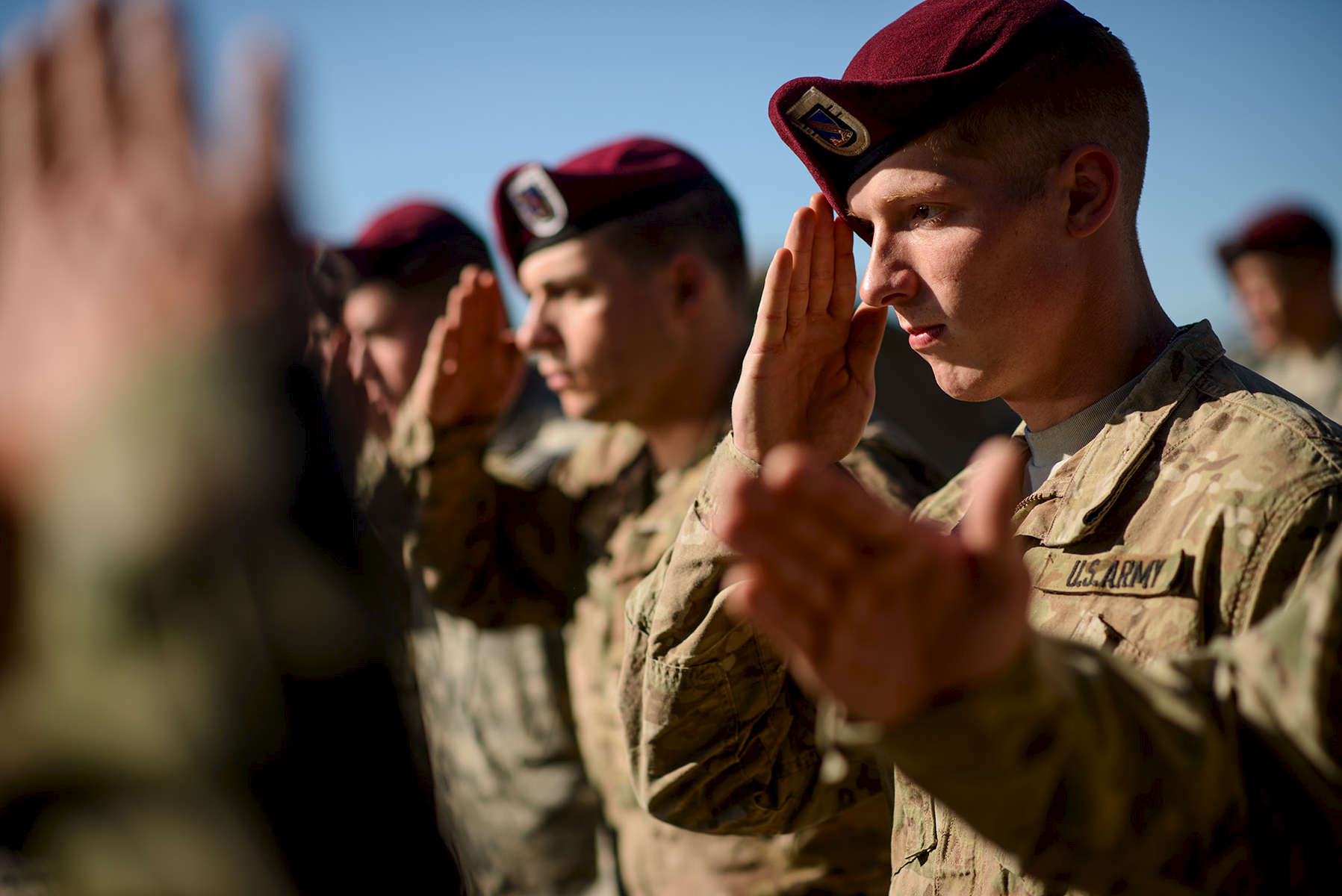 First Place | Multiple PhotosAndrew Craft, The Fayetteville ObserverParatroopers with the 2nd Brigade Combat Team, salute Spanish soldiers as they receive their Spanish jump wings Friday, Nov. 6, 2015, in Zaragoza, Spain. In support of Operations Trident Juncture 15 and Ultimate Reach 16, over 500 Paratroopers from the Division's 2nd Brigade Combat Team deployed from Pope Army Airfield, conducted in-flight rigging and executed a Joint Forcible Entry exercise in Zaragoza, Spain.