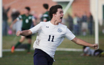 First Place | SportsCasey Mozingo, The Free PressWayne Country Day's Matthew Kireski celebrates after outmaneuvering two Greenfield Academy defenders and a goalie during Thursday night's game.