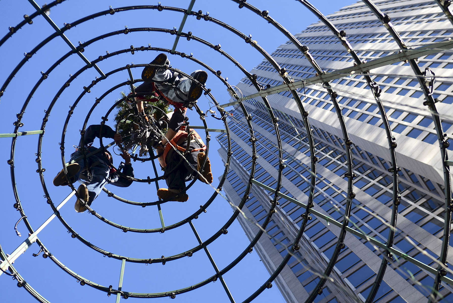 First Place | FeatureJohn D. Simmons, The Charlotte ObserverWorkers (L-R) Will Patterson, Josh Renfro and John Murphy with Spintastic Sound & Design prepare to remove the top of the Christmas tree next to the Bank of America tower at Trade and Tryon Streets Saturday, Jan. 2, 2016.