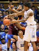 Third Place | SportsMark Dolejs, Daily DispatchDuke's Brandon Ingram (14) and Derryck Thornton (12) battle Virginia Tech's Jalen Hudson (23) and Zach LeDay (32) for the ball in their game at Cameron Indoor Stadium.