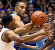Second Place | Multiple PhotosMark Dolejs, Daily DispatchNorth Carolina Tar Heels forward Brice Johnson (11) and Duke Blue Devils guard Matt Jones (13) scramble for the ball in the second half of their game at Cameron Indoor Stadium.