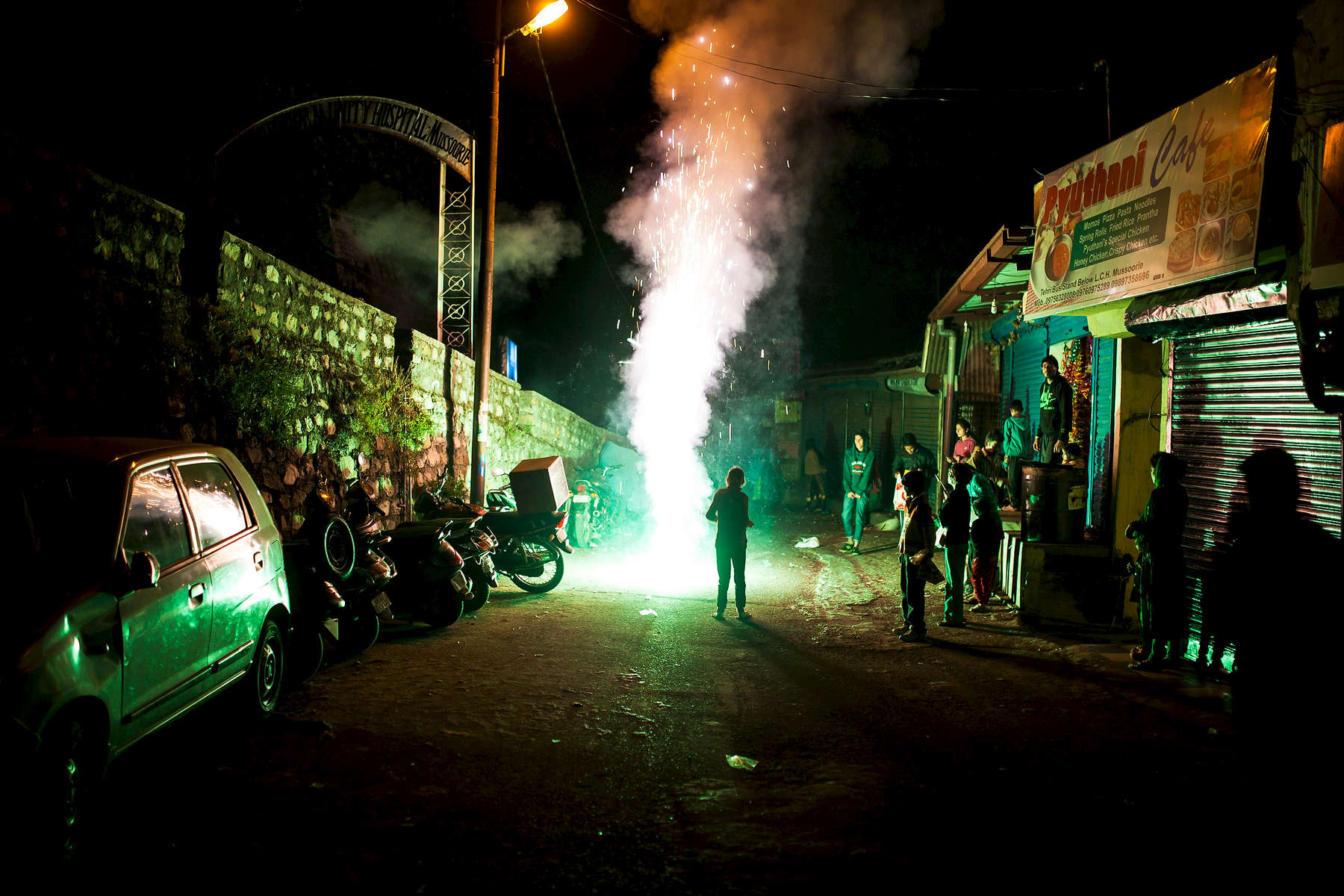 Honorable Mention | General NewsCaleb Smallwood, triad city beatChildren set off fireworks in the streets of Mussoorie, India during the Hindu festival of lights, Dewali.
