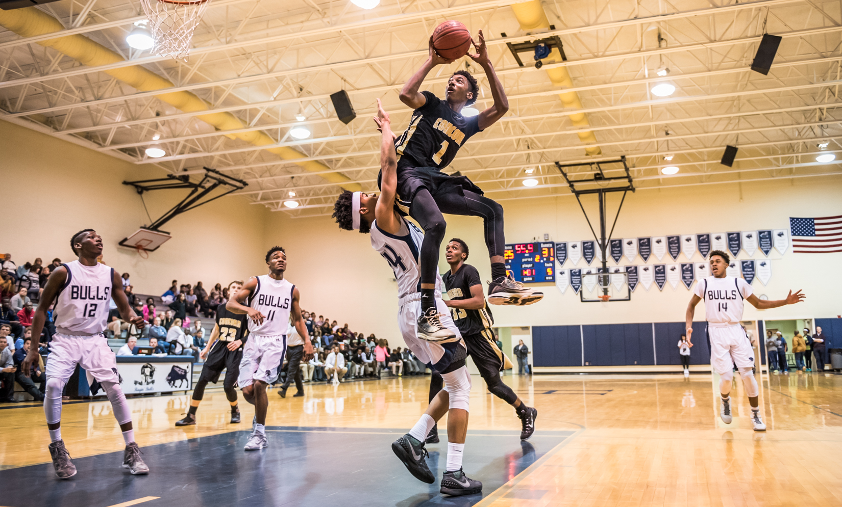 <p>First Place | Sports </p><p>James Nix, Independent Tribune</p><p></p><p>Concord's Rechon Black (1) goes up for a shot against Hickory Ridge Monday night at Hickory Ridge High School in Harrisburg. Hickory Ridge won the game 72-67.</p>
