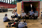 First Place | Sports Photo Story Anna Spelman, University of North CarolinaMany referees are needed during a roller derby bout. These five take a rest during halftime at the CRG-Collision bout on September 12, 2015. Just like all the staff involved with derby, the refs volunteer their time.